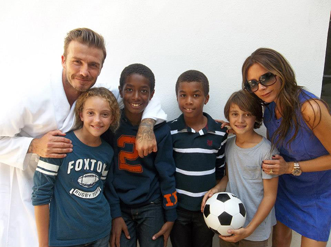 Elias and Uriel Bernard Ferguson with David and Victoria Beckham, H&M Commercial 2013