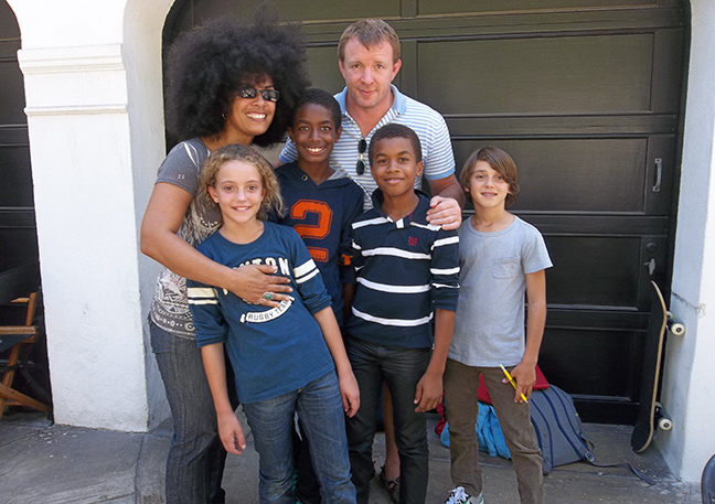 Uriel and Elias Bernard Ferguson with director, Guy Ritchie, as principals in H & M Commercial