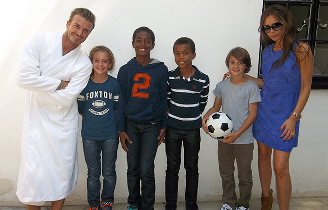 Uriel and Elias Bernard Ferguson with David Beckham