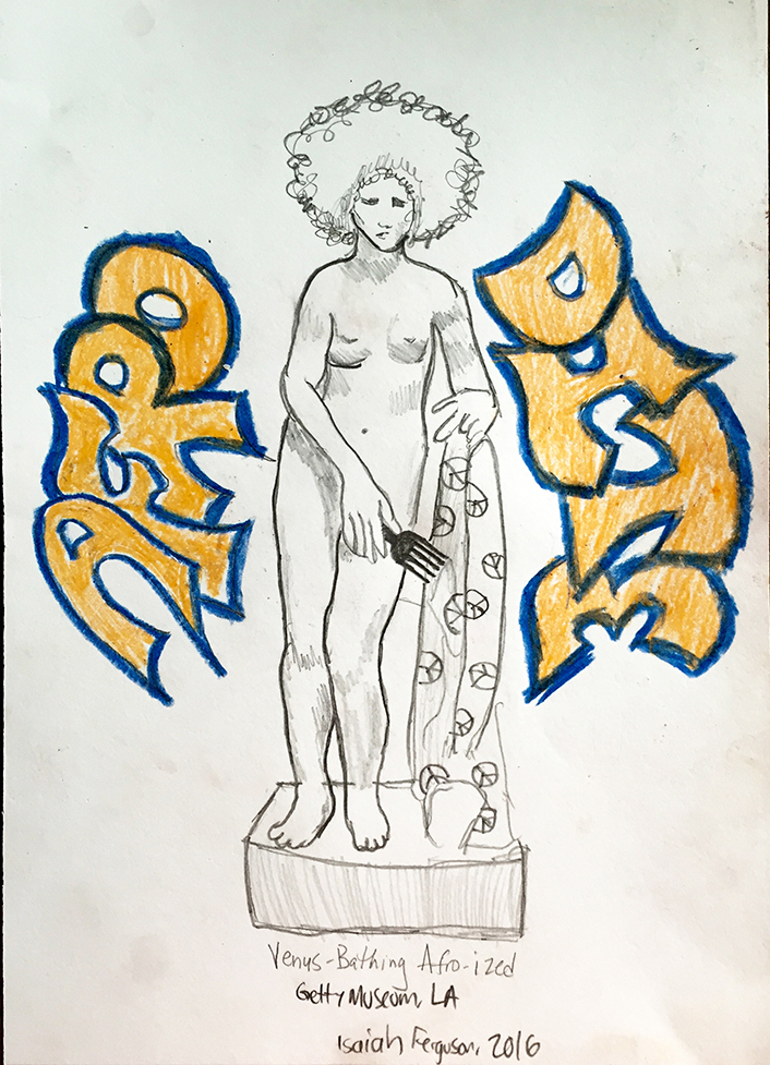 Drawing of Venus Bathing Statue at Getty Museum Afro-Futurized by Isaiah Ferguson, 2016. Click on image to enlarge.