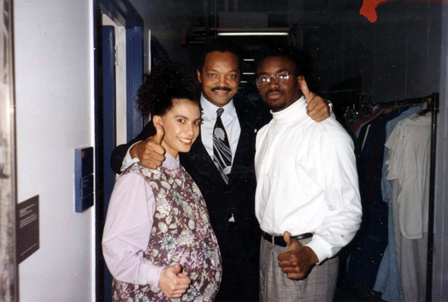 Backstage of the Cosby show with my husband Franklin and Jesse Jackson