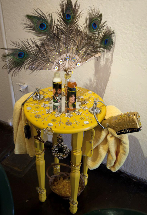 Butterscotch candy as an offering. Oshun's Station, Mixed Media, by Lili Bernard, 2013