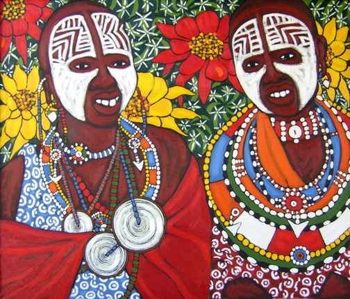 "Maasai Brides, Oil on Canvas, 42""x50"" © 2007 by Lili Bernard, Collection of Carole Jordan-Harris, MD"