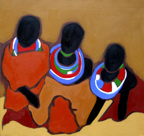"Maasai Sisters, Oil on Canvas, 24""x20"" © 2006 by Lili Bernard, Collection Charles Burnett"