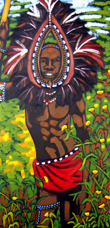 "Maasai Warrior, Oil on Canvas, 47""x23"" © 2006 by Lili Bernard, Collection of Richard & Cynthia Gay"