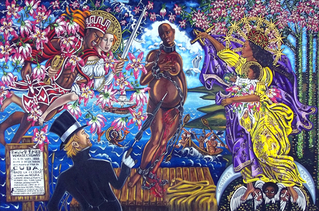 "The Sale of Venus (after Sandro Botecelli's The Birth of Venus, 1486), Oil on Canvas, 96""x72"" © 2011by Lili Bernard"