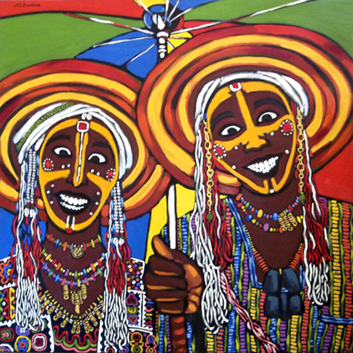 "Wodaabe Brothers, Oil on Canvas, 48""x48"" © 2007 by Lili Bernard , Available for Purchase"