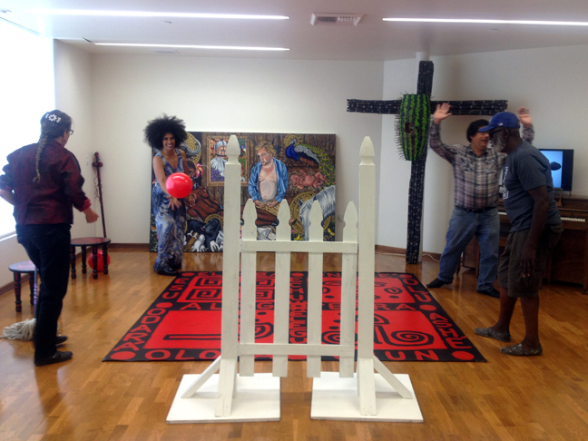 Playing Four Square in the Orishas Through the Crossroads and the Gate Installation of my MFA Thesis Exhibition, Leimert Park Vision Theatre, May 7, 2014, Los Angeles, CA. Pictured left to right: Beth Peterson, Lili Bernard, José P. Rodriguez, Ben Caldwell.