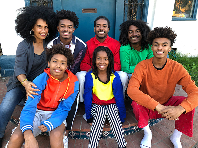 Lili Bernard and her children Rafael, Isaiah, Elias, Uriel, Joshua and Zion, February 2019, Los Angeles, CA