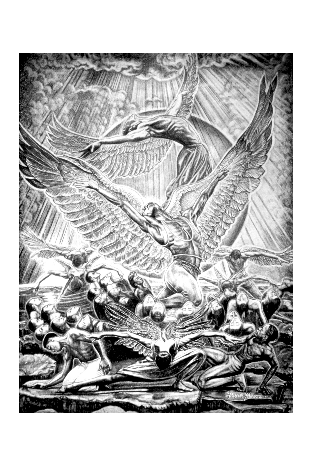 "Buena Johnson. Mount Up With Wings As Eagles, Isaiah 40:31, 1997. Pencil, 24""x20""."