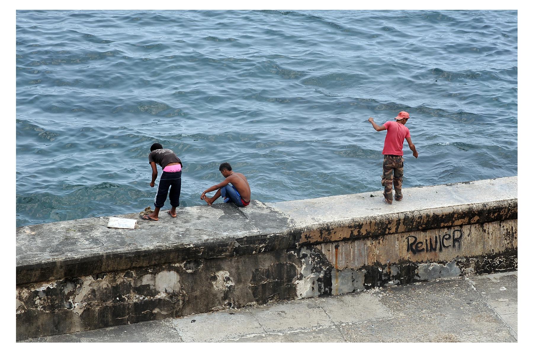 "Chelle Barbour. Three Fishermen, 2012.  Digital print on archival paper, 4"" x 6"""