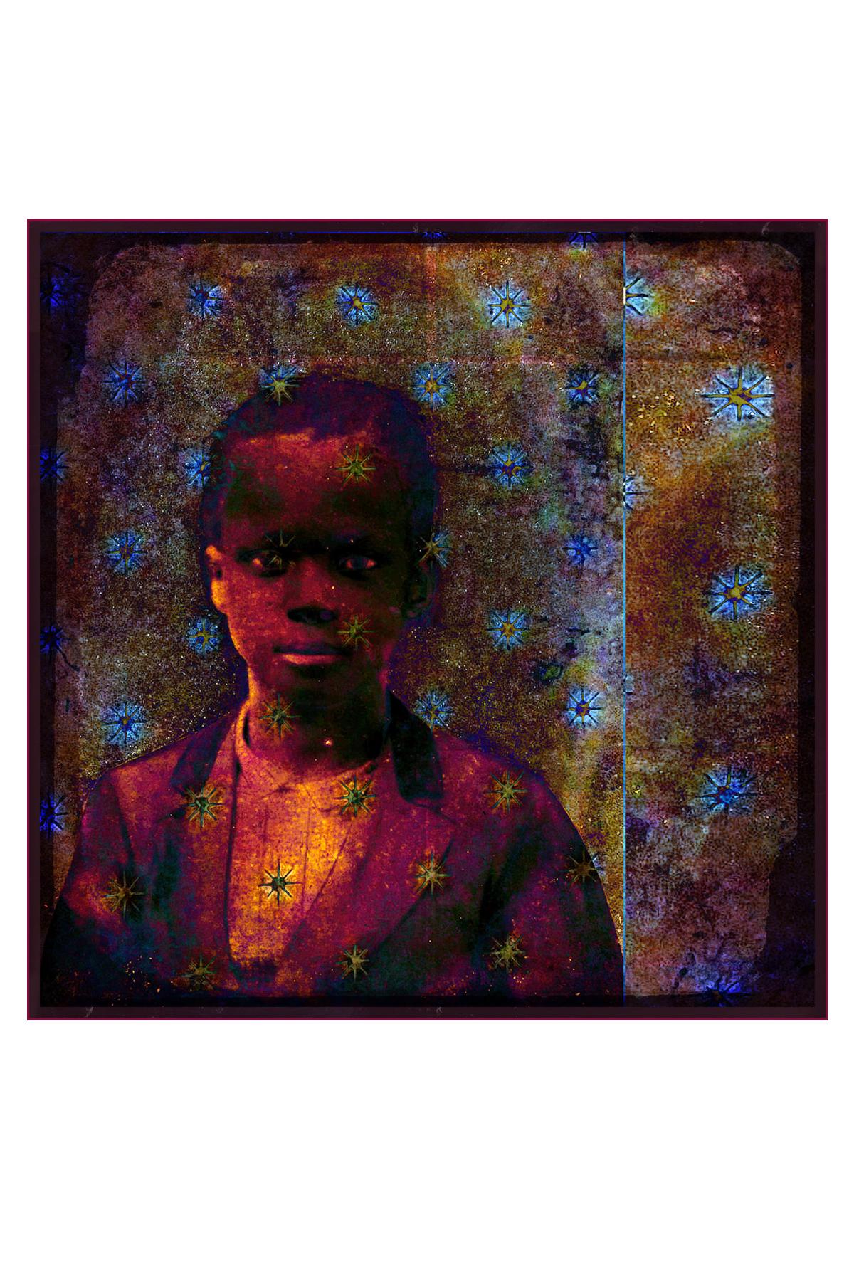 """J Michael Walker. Dreamer Boy, 2014. Digital Photomontage, 24"""" x 24"""""""