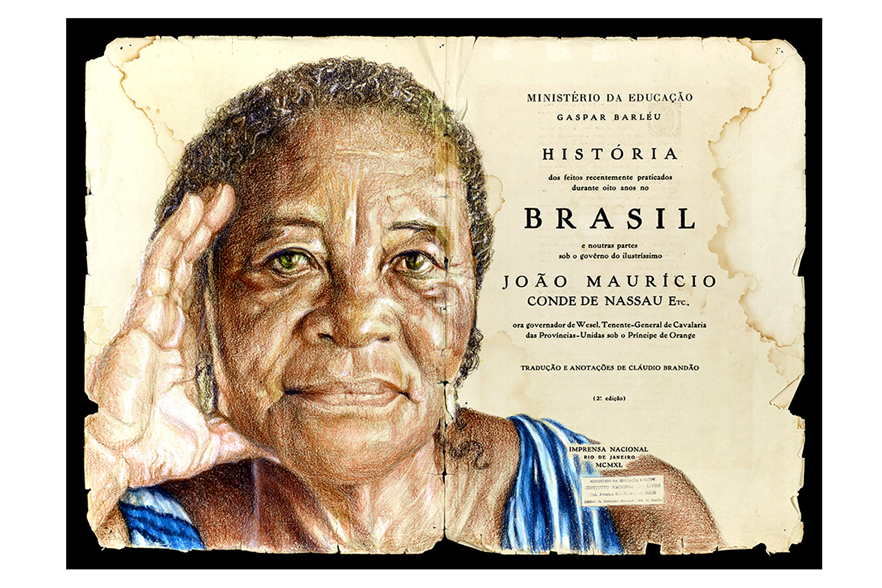 "J Michael Walker, Unintended Consequences: Arighting What's Written, 2014. Color pencil on twin pages of the 1940 edition of ""Historia do Brasil"" by Gaspar Barleu, 18"" x 24""."