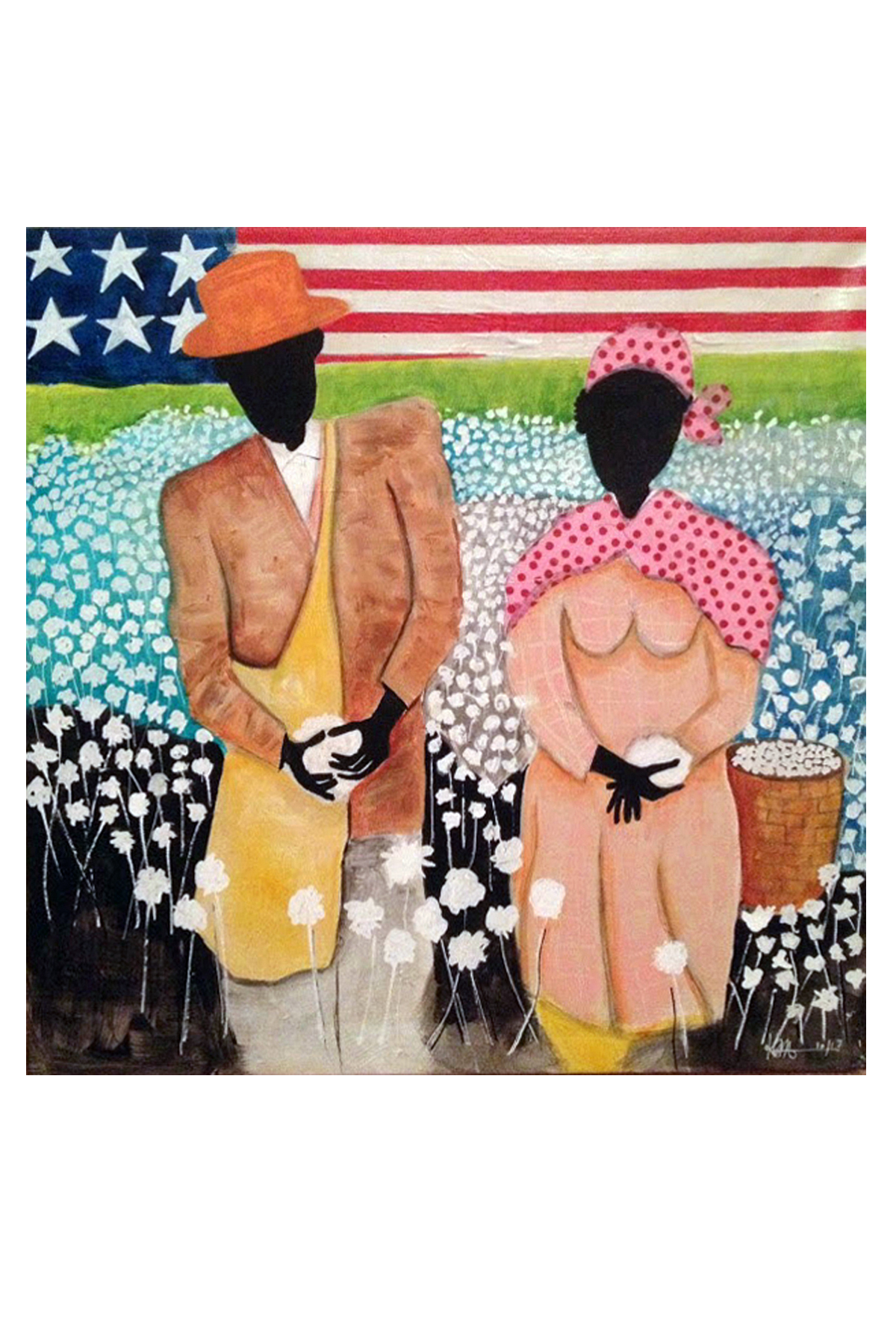 """Keith Mikell. Cotton Pickers, 2014, Acrylic, Oil & Collage, 20""""x20""""x1.5"""""""