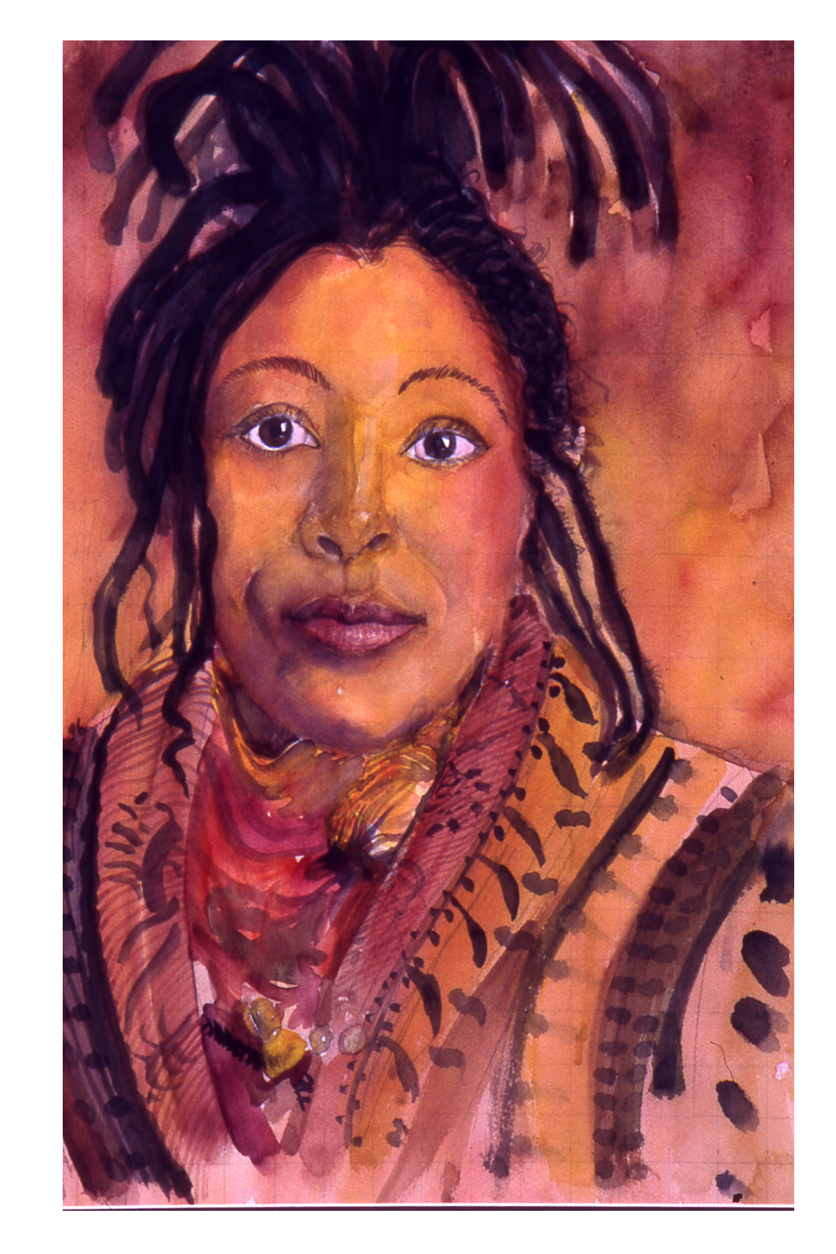 "Milton Loupe. Queen in Dreds, 1996. Watercolor, 30""x26"""