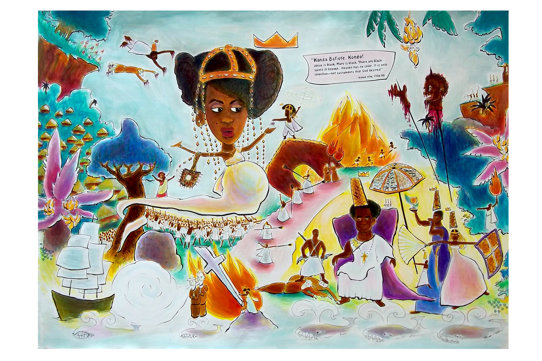 "Zeal Harris. Kimpa Vita and the Concert of Kongo, 2011. Ink, Liquid Acrylic & Watercolor on Paper, 36""x50"""