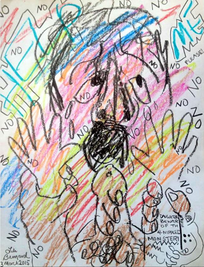 Daughters Beware, Crayon on Paper, 8.5″x11″, March 3, 2054 by Lili Bernard