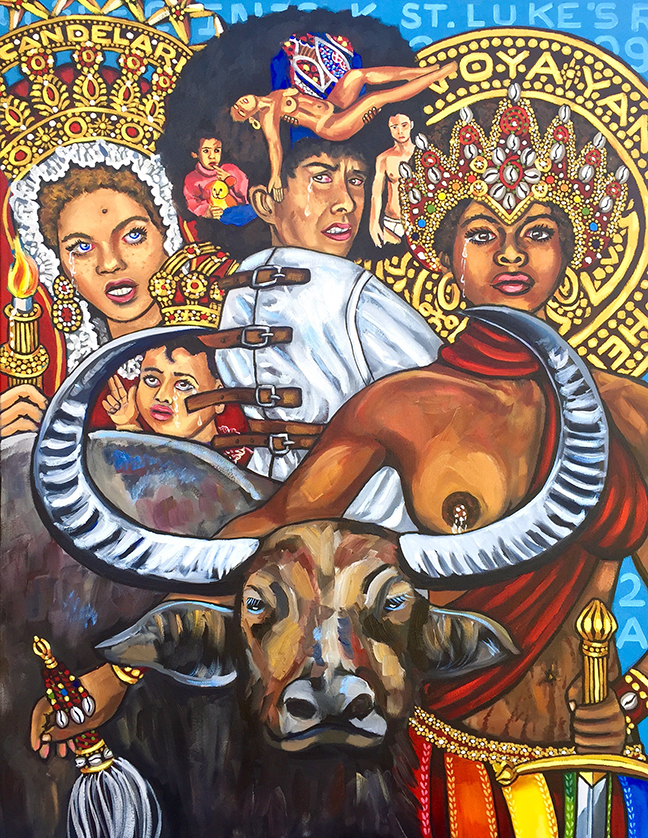 "Lili Bernard. Self-Portrait in Straight Jacket with Assata Shakur as Oya-Yansa and Kathleen Cleaver as La Virgen de La Candelaria, 2017. Oil on Canvas, 48""x36"""