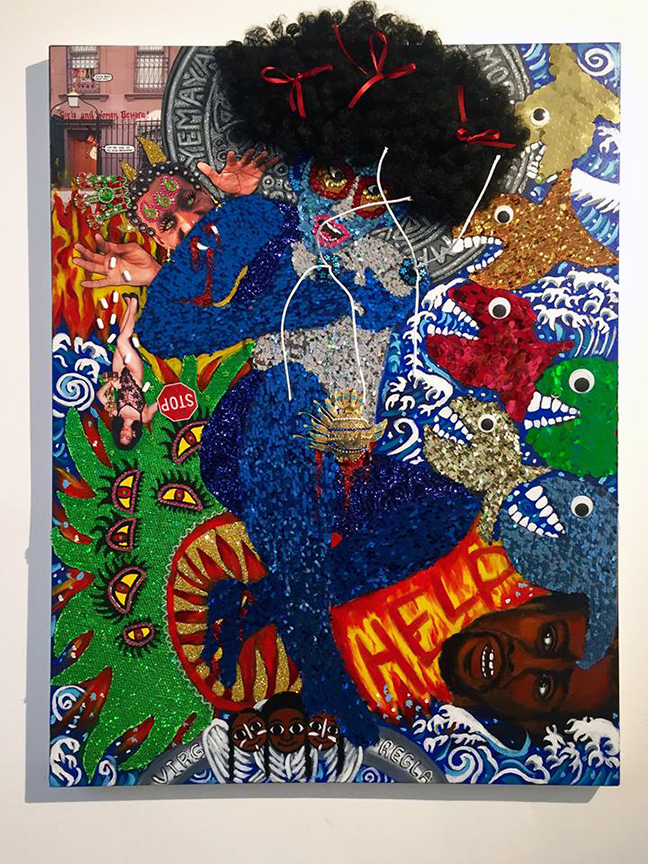"Lili Bernard. Self Portrait as Yemaya Under Attack, 2016. Mixed Media, 58""x36"""