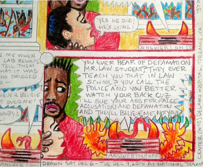 "Detail 2 of BC Trauma Strip Page (a narrative ""comic strip"" I've been creating on the actual details and dialogue of the sexual and emotional trauma I endured in my mid 20′s), Color Pencil on Paper, 8.5″x11″, December 11, 2014 by Lili Bernard (created while I was a patient at the National Trauma Center Delamo Hospital)"