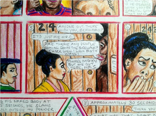 "Detail 1 of BC Trauma Strip Page (a narrative ""comic strip"" I've been creating on the actual details and dialogue of the sexual and emotional trauma I endured in my mid 20′s), Color Pencil on Paper, 8.5″x11″, December 11, 2014 by Lili Bernard (created while I was a patient at the National Trauma Center Delamo Hospital)"