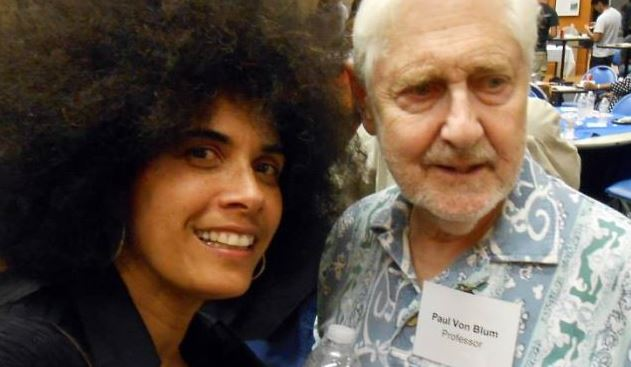 With Professor-Author Paul Von Blum at UCLA art show I was in, 14 Mar 2014
