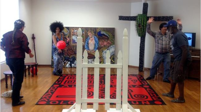My public engagement installation, Orishas hrough the Crossroads and the Gate at my MFA Thesis Show, 27 April 2014