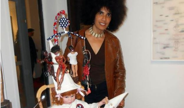 My sculpture, As American as Pie, in Rise; Love, Revolution and the Black Panthers art show, ArtShare LA, 19 Jan, 2014