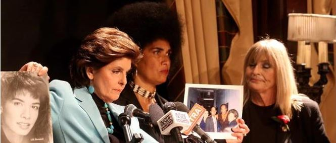 Lili Bernard and Gloria Allred re. Bill Cosby, 1 May 2015, NYC, NY. (Photo: Andrew Gombert)