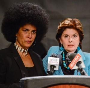 Lili Bernard and Gloria Allred re. Bill Cosby, 1 May 2015, NYC, NY. (Photo: Getty Images)
