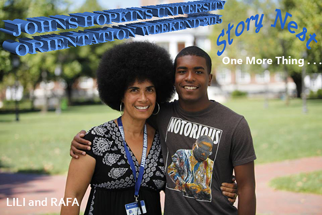 Lili Bernard and Son Rafael Bernard Ferguson, Johns Hopkins University Orientation Weekend 2015