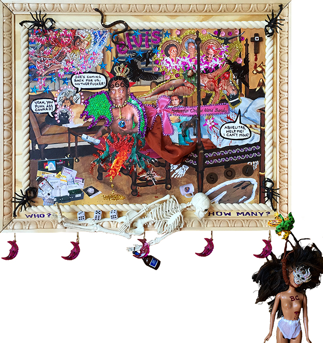 "Lili Bernard: ""Elvis Slept Here: Help Me, Abuelitas,"" 2016. Acrylic paint, photographs, indelible marker, costume jewelry, sequin, glitter, rubber scorpions & snakes, rubber frogs, barbie doll, leather chord, plastic crescent moons, fake coins & jewels, dice, toy plastic bottle, rubber human skeleton, wood, cloth, 19″x24″"