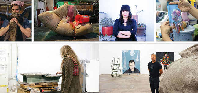 A layout of Habitat L.A. from the Spring 2016 issue of ARTnews. Clockwise from top left: Kaari Upson and her studio, Amanda Ross-Ho in her studio, Enrique Martinez Celaya and his studio, Liz Larner in her studio.