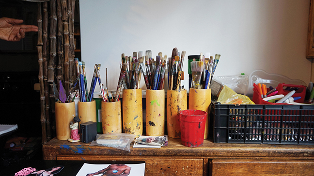 Some of Bernard's painting supplies.