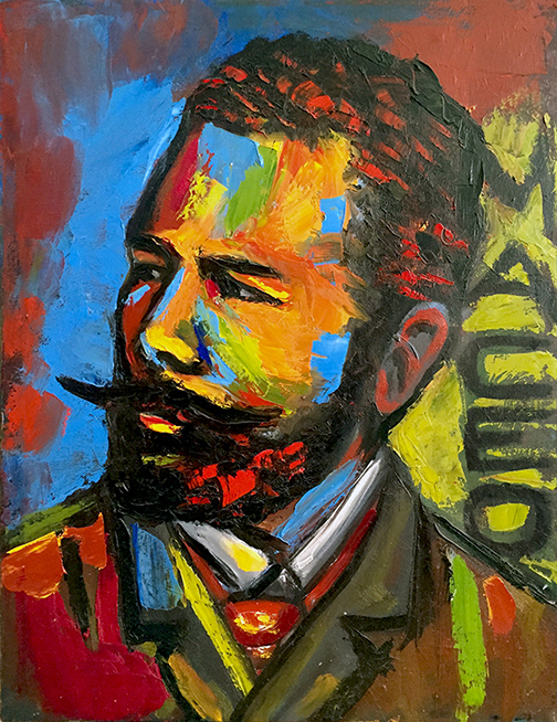 "Lili Bernard. José Martí in Pallet Knife, 2015. Oil on Canvas, 28""x22"""
