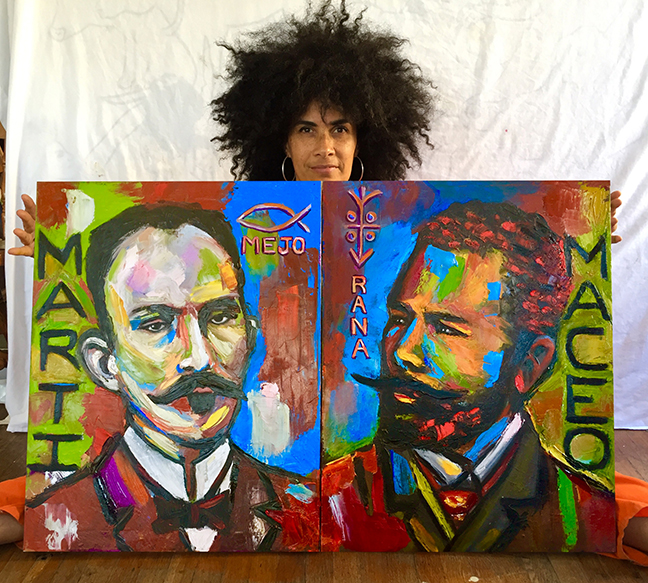 Lili Bernard. Maceo y Martí: La Mejorana, 2017. Oil on Canvas, 28″ x 44″
