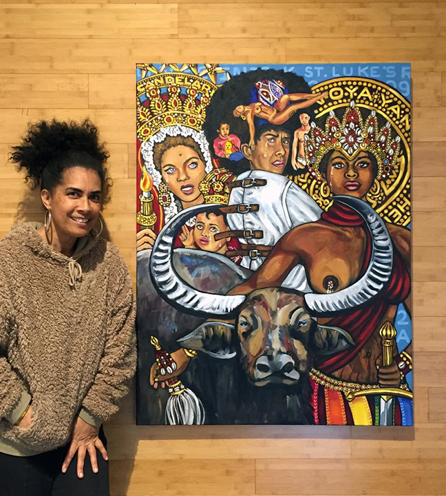 Lili Bernard. Self-Portrait in Straightjacket with Black Panthers Assata Shakur as Oya-Yansa and Kathleen Cleaver as La Virgen de La Candelaria, 2017. Oil on Canvas, 48″x36″