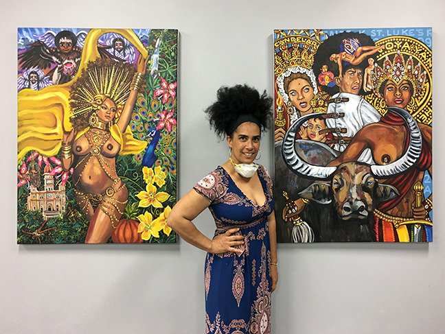 Lili Bernard and her two paintings on exhibit at Self Help Graphics, Los Angeles, June 2020 for the Mujeres de Maíz group art show, 2020 Vision: Prophecy Manifested