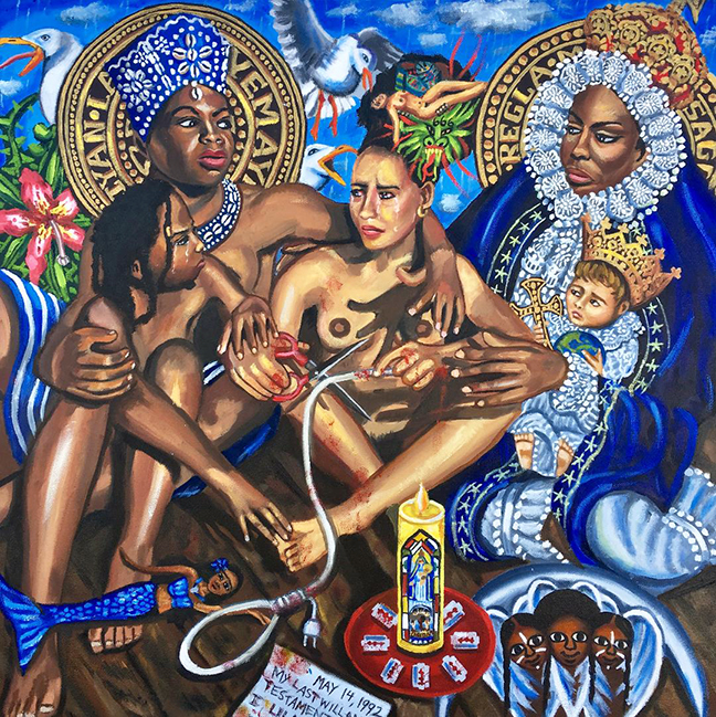 "Lili Bernard. La Orisha Yemayá y La Virgen de Regla con Nina Simone and the Daughter, Zion, Whom I Didn't Know I would Birth 16 Years Later, Intercede in my 1992 Suicide Attempts Post BC Drug-Facilitated Raping of Me, 2019. Oil on Canvas, 24""x24"""