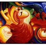 "Bernard Hoyes. Block Party Ritual, 1999. Oil on Canvas, 40""x60"""